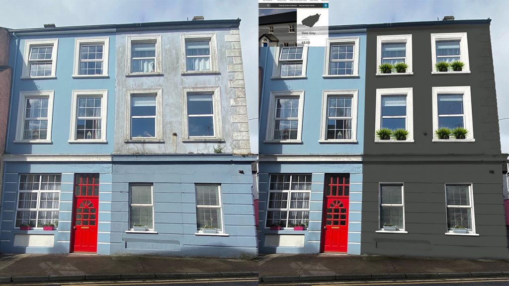Using Dulux Merlin paint colour to re-colour this lovely old building.